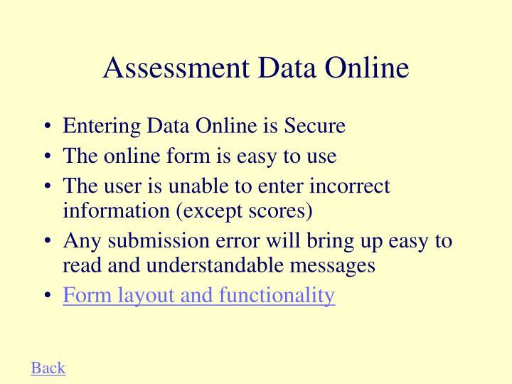 Assessment data online