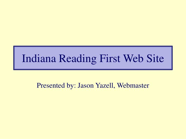 Indiana reading first web site