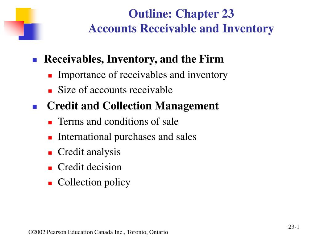 outline chapter 23 accounts receivable and inventory l.
