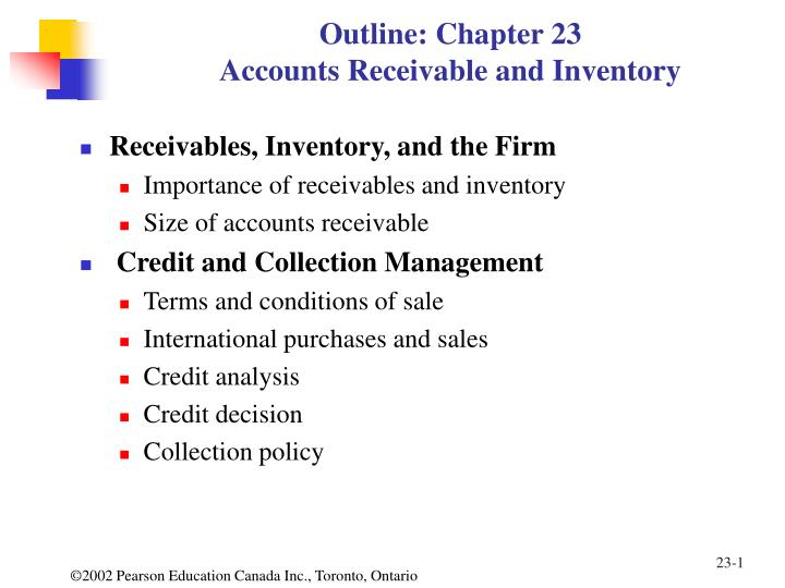 outline chapter 23 accounts receivable and inventory n.