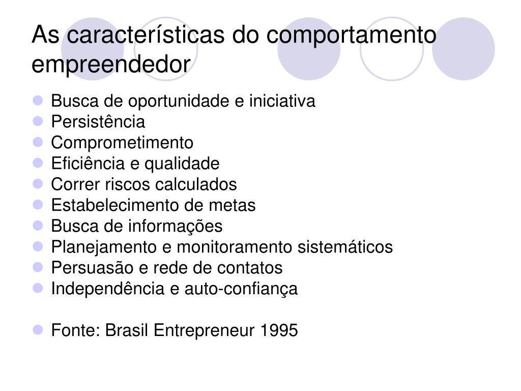 As características do comportamento empreendedor