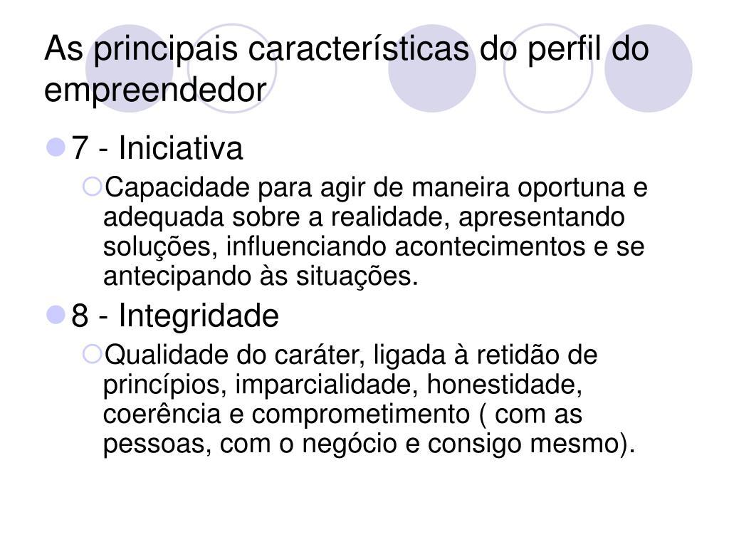 As principais características do perfil do empreendedor