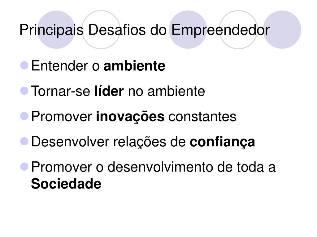 Principais Desafios do Empreendedor
