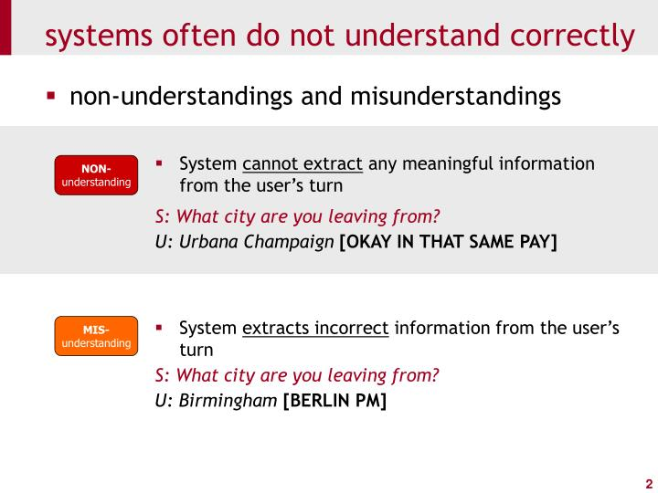 Systems often do not understand correctly