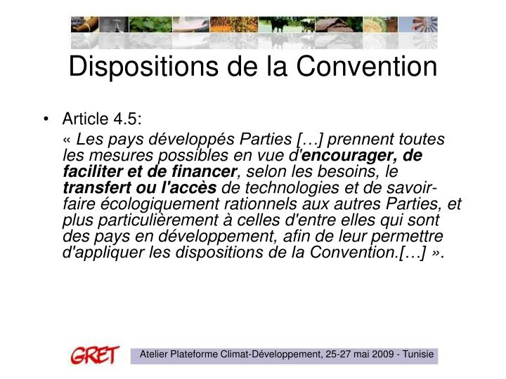Dispositions de la convention