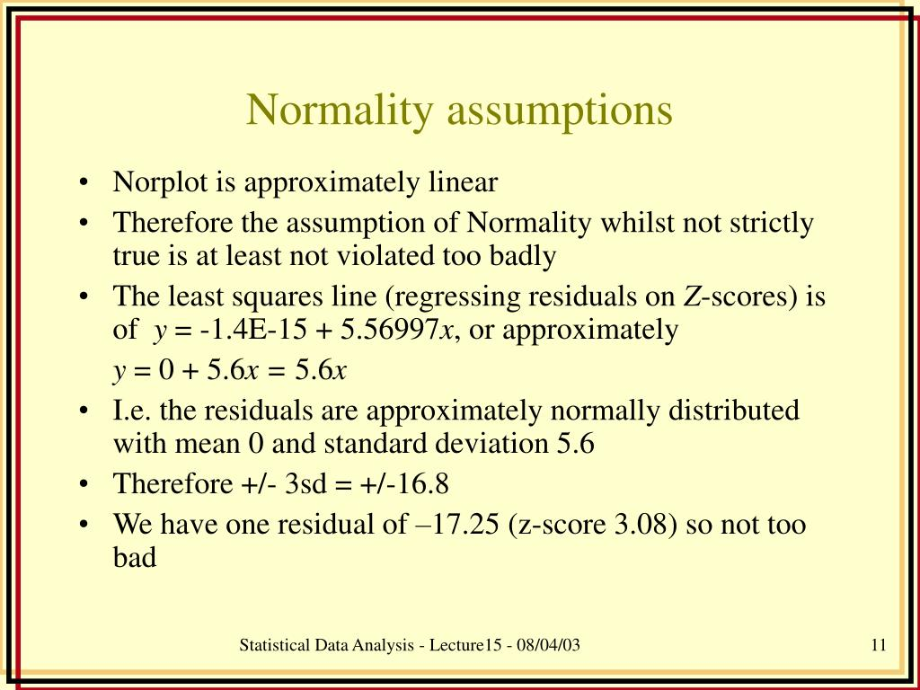 Normality assumptions