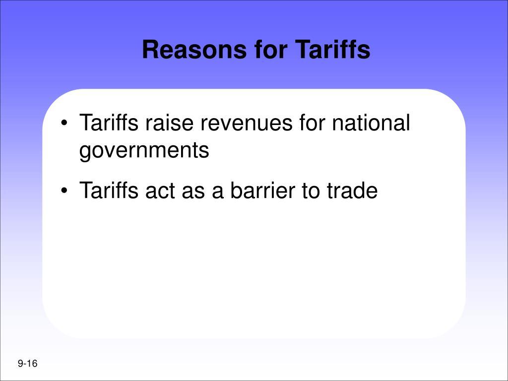 Reasons for Tariffs