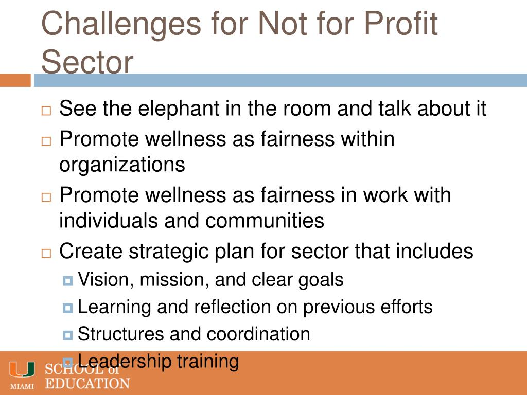 Challenges for Not for Profit Sector