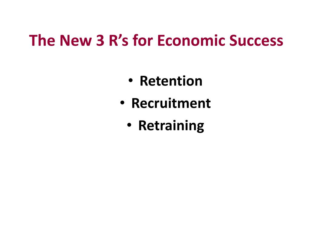 The New 3 R's for Economic Success