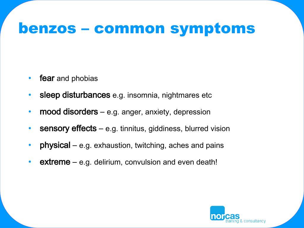 benzos – common symptoms