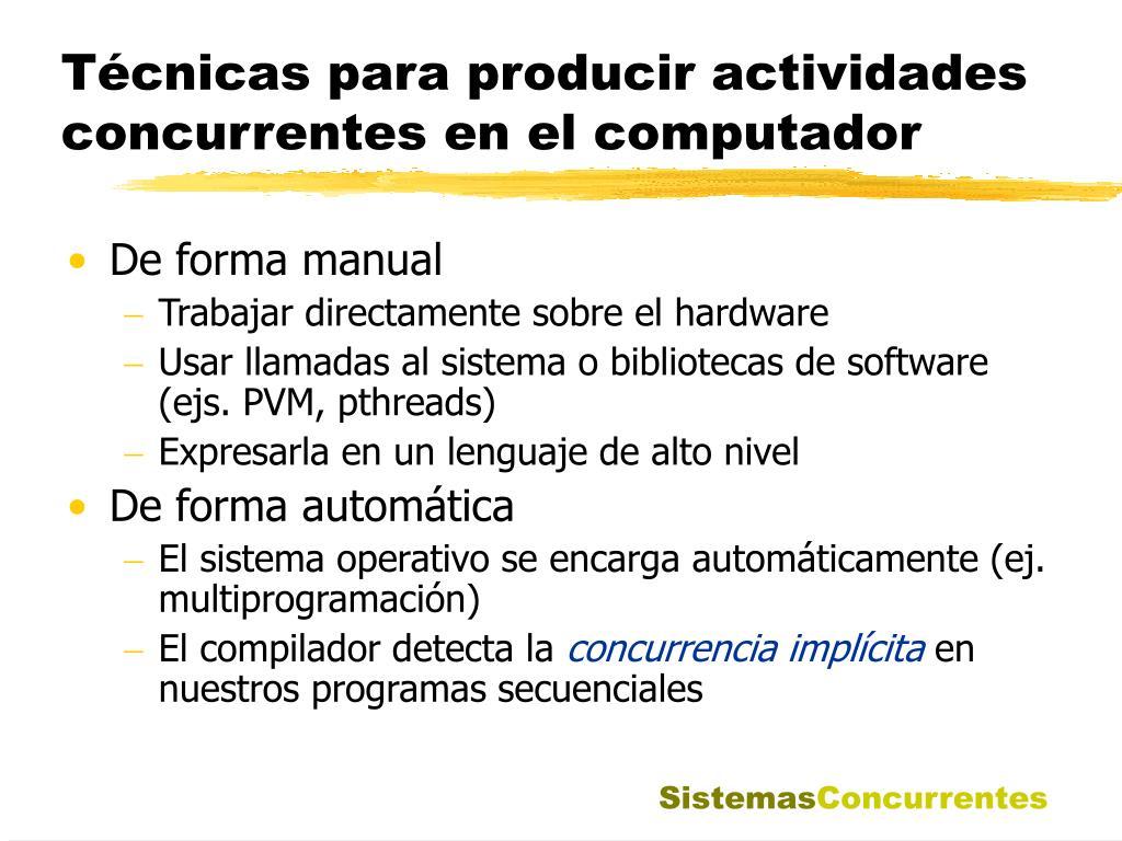 Técnicas para producir actividades concurrentes en el computador