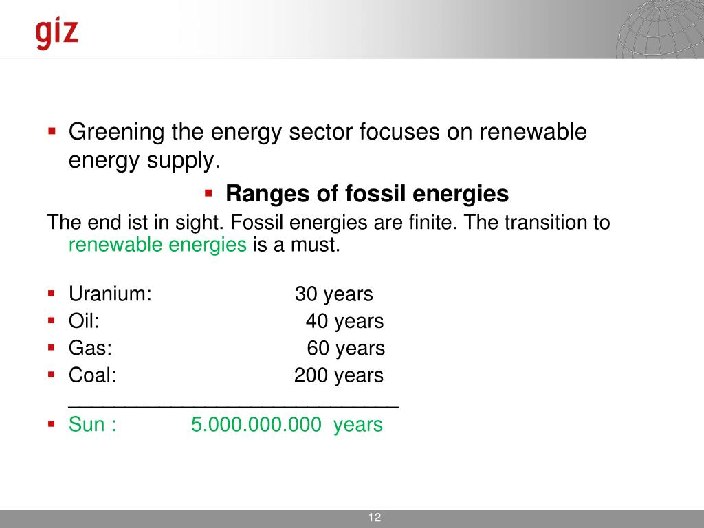 Greening the energy sector focuses on renewable energy supply.