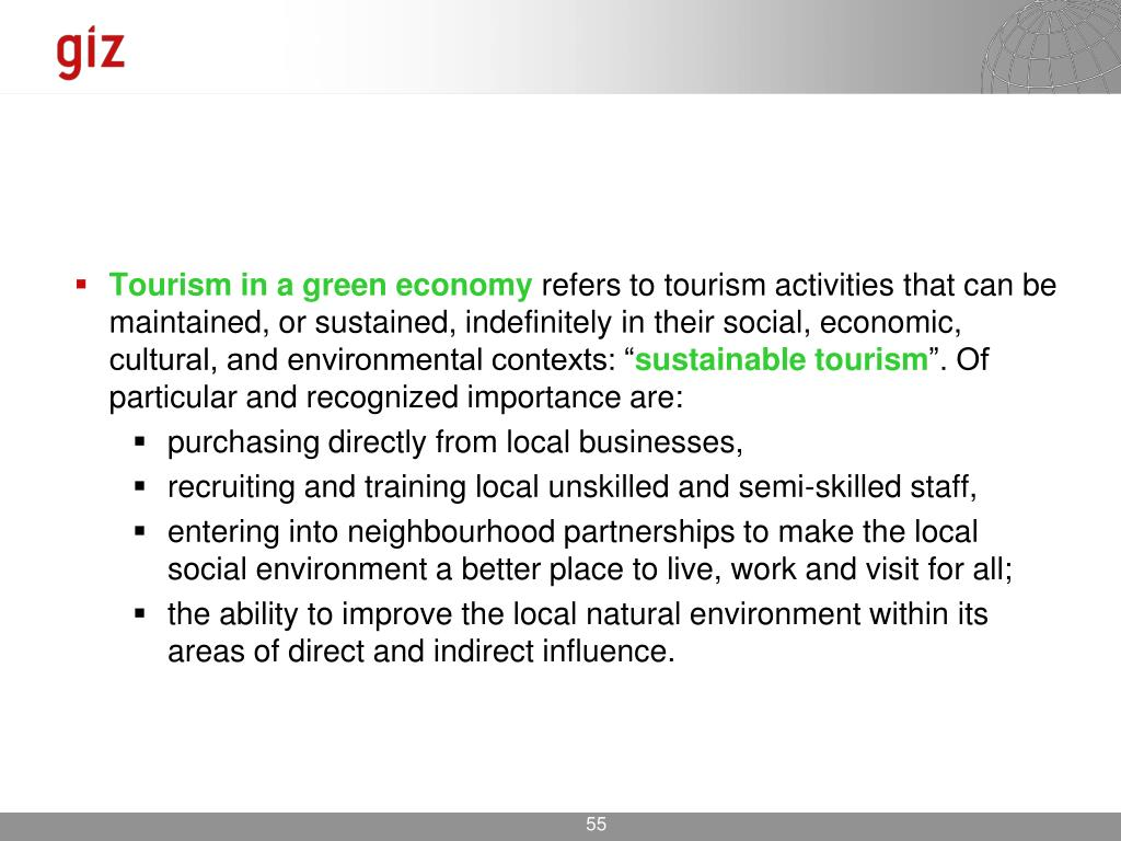 Tourism in a green economy