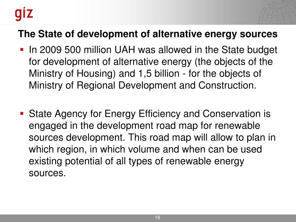 The State of development of alternative energy sources