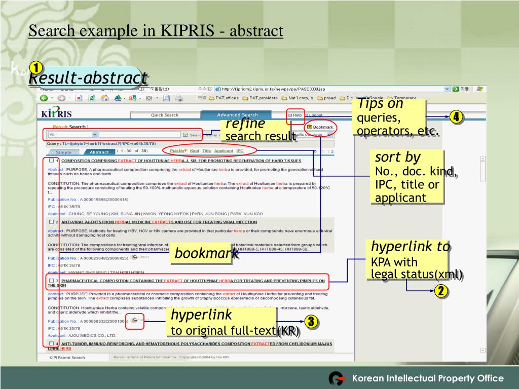 Search example in KIPRIS - abstract