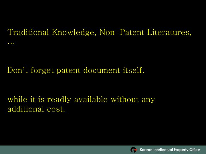 Traditional Knowledge, Non-Patent Literatures,