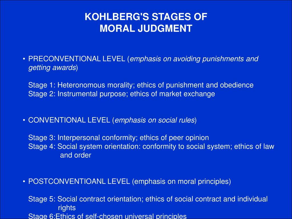 KOHLBERG'S STAGES OF MORAL JUDGMENT