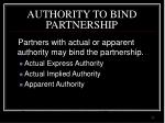 authority to bind partnership