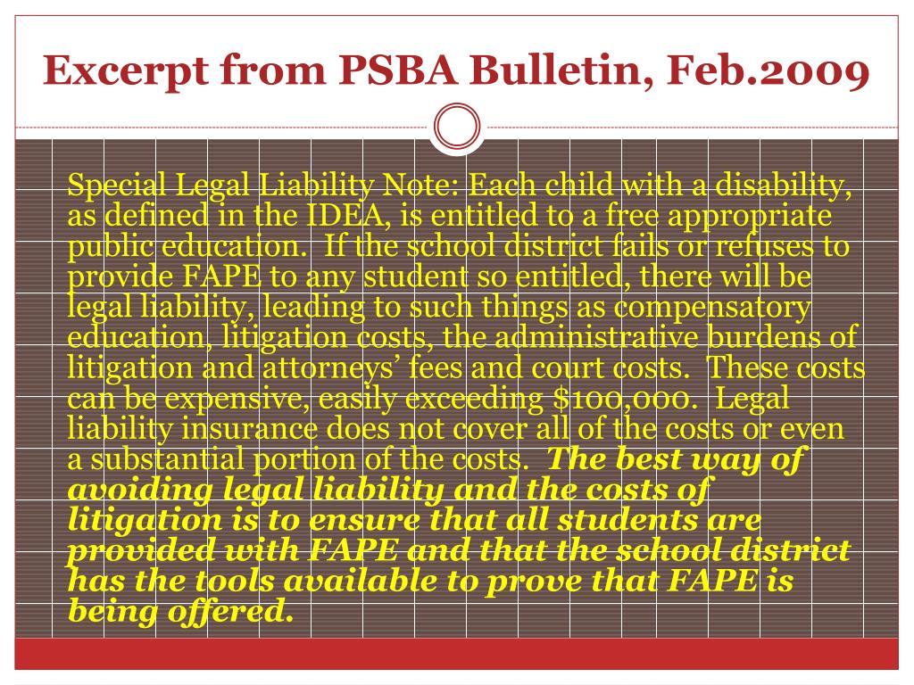 Excerpt from PSBA Bulletin, Feb.2009