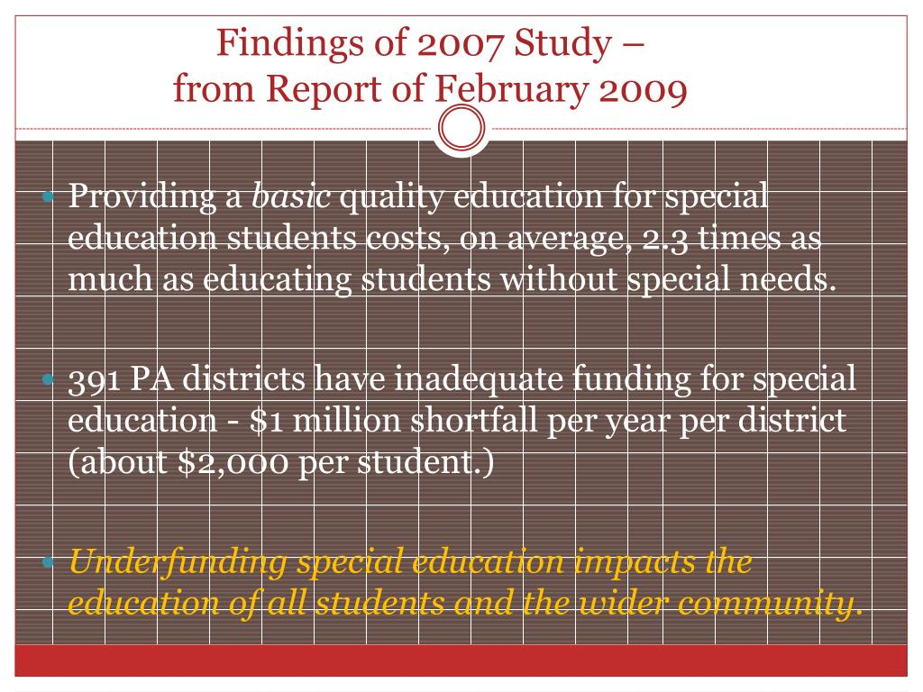 Findings of 2007 Study –