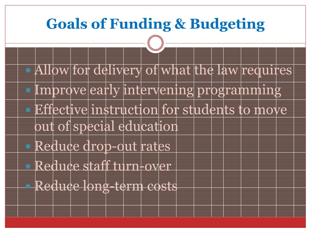 Goals of Funding & Budgeting