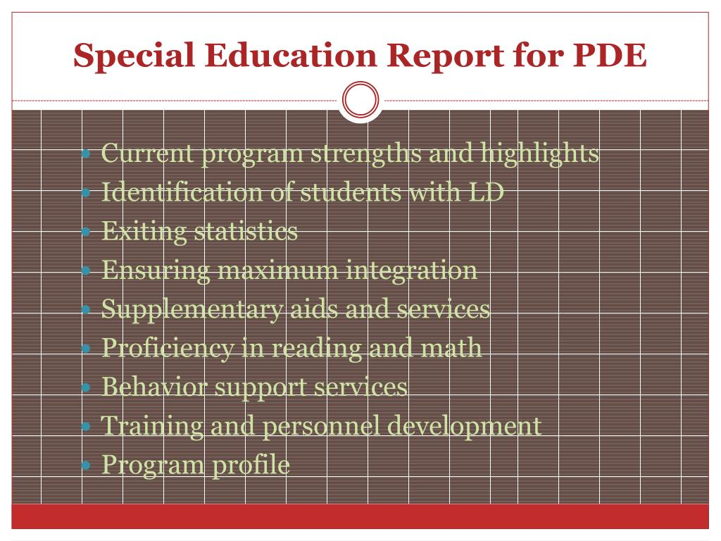 Special Education Report for PDE
