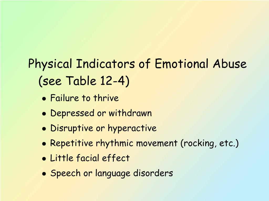 Physical Indicators of Emotional Abuse (see Table 12-4)