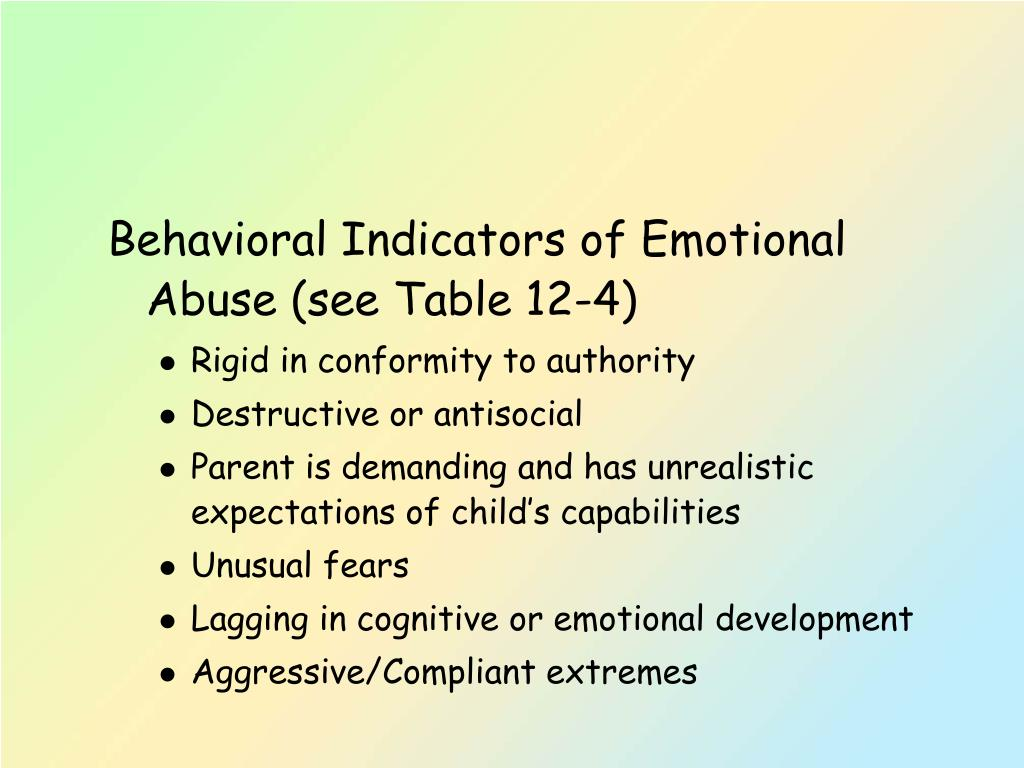 Behavioral Indicators of Emotional Abuse (see Table 12-4)