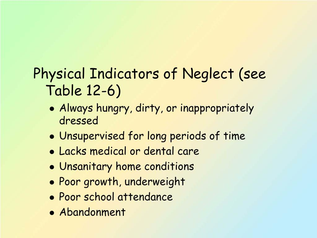 Physical Indicators of Neglect (see Table 12-6)