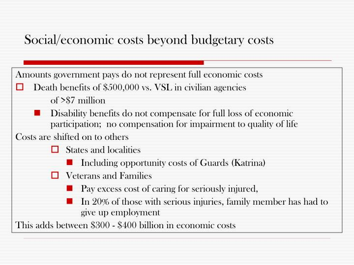Social/economic costs beyond budgetary costs