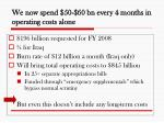 we now spend 50 60 bn every 4 months in operating costs alone