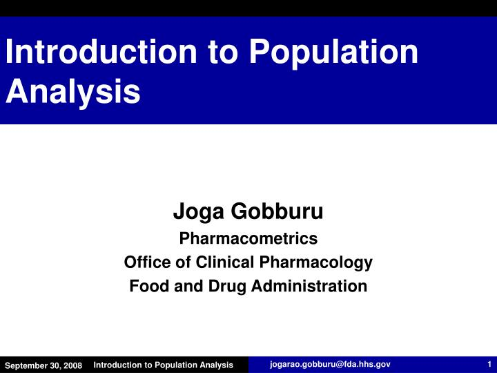 introduction to population analysis n.