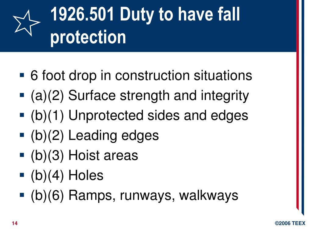 1926.501 Duty to have fall protection