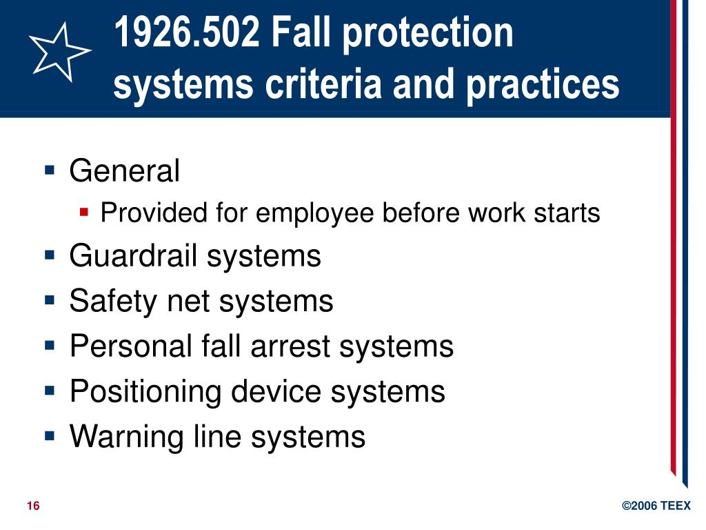 1926.502 Fall protection systems criteria and practices