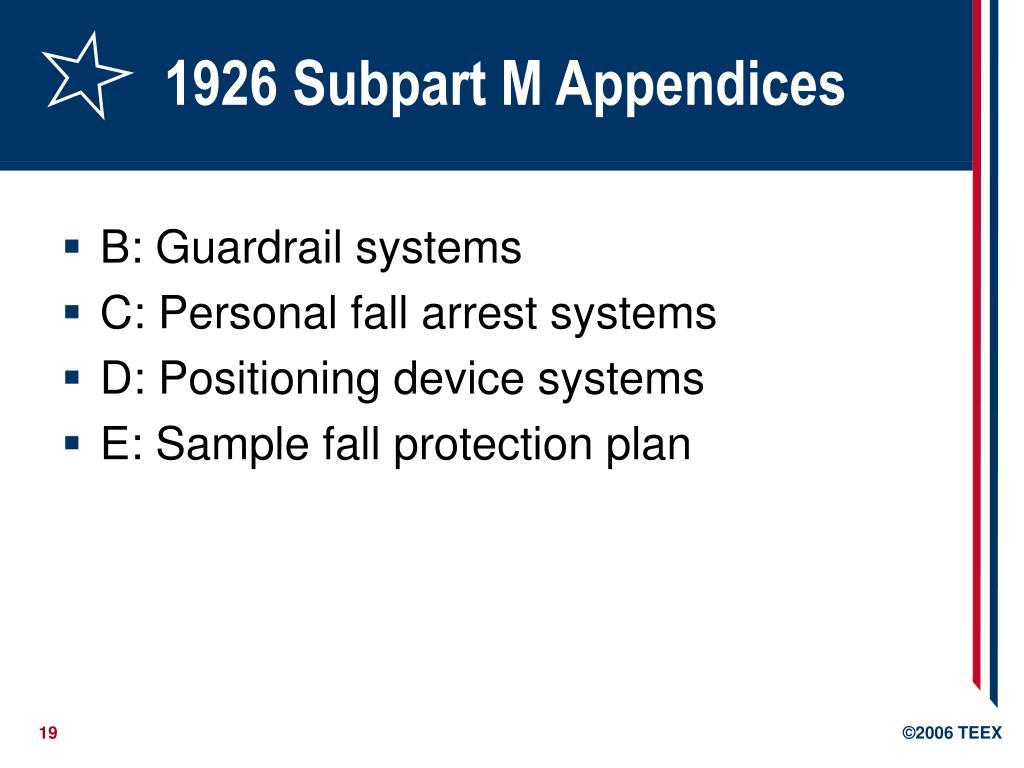 1926 Subpart M Appendices