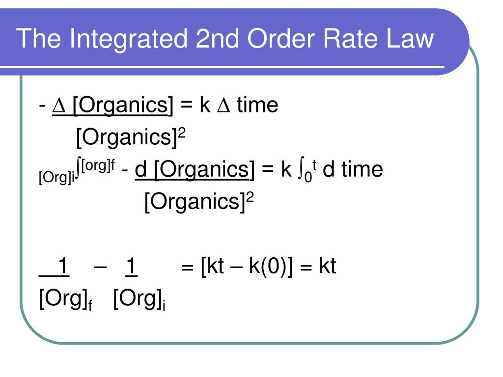The Integrated 2nd Order Rate Law