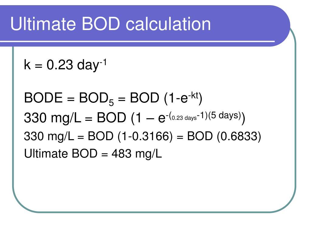 Ultimate BOD calculation