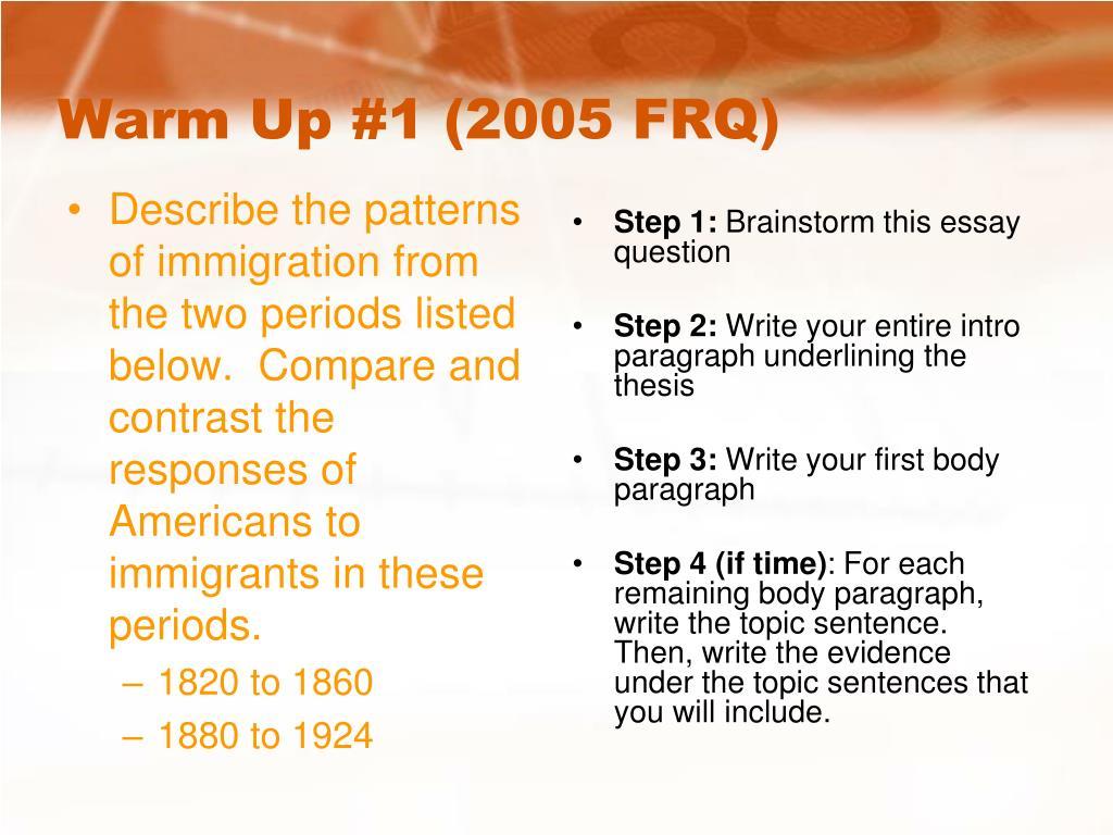warm up 1 2005 frq l.