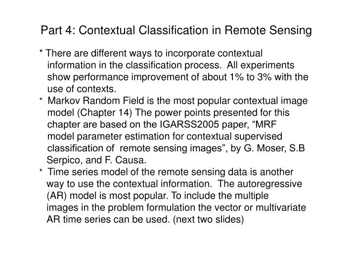 Part 4 contextual classification in remote sensing