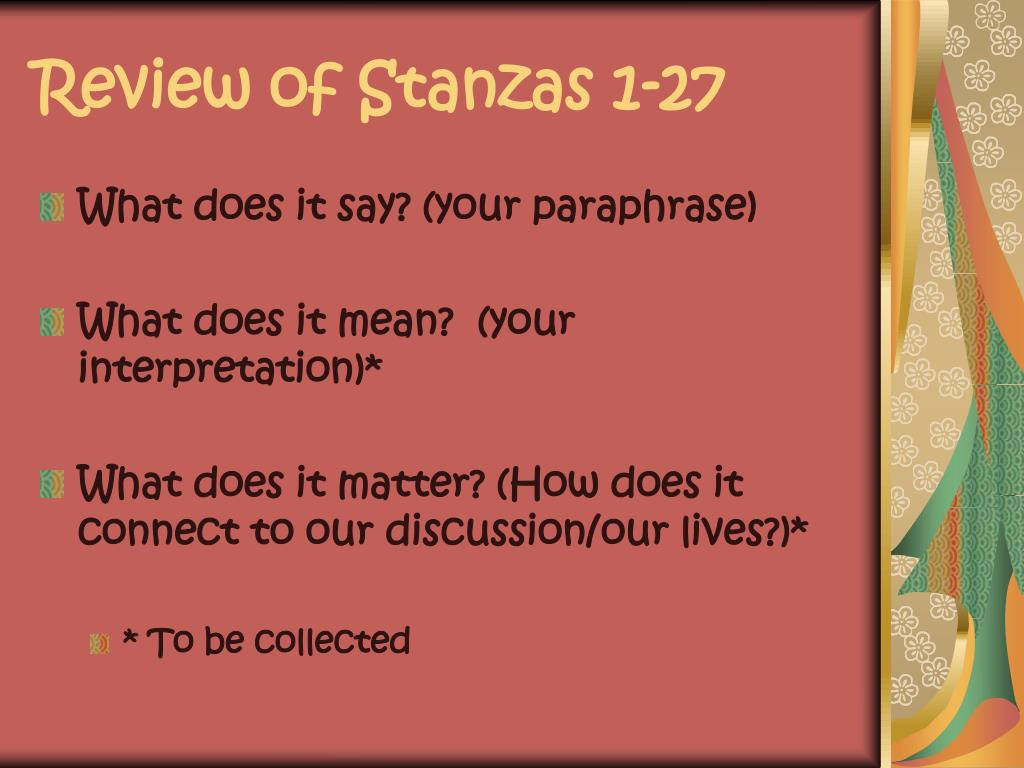 Review of Stanzas 1-27