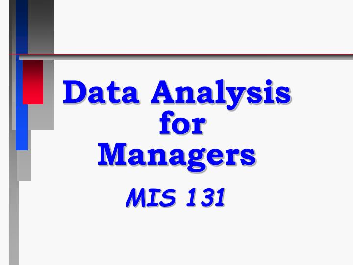 Data analysis for managers