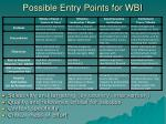 possible entry points for wbi