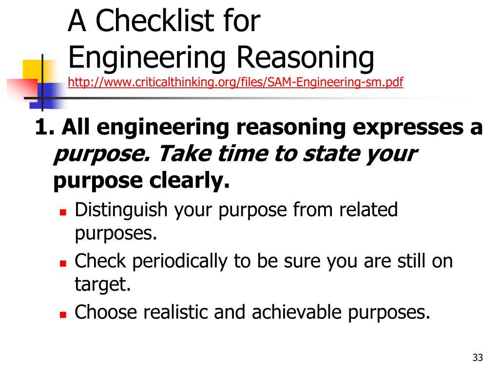 A Checklist for