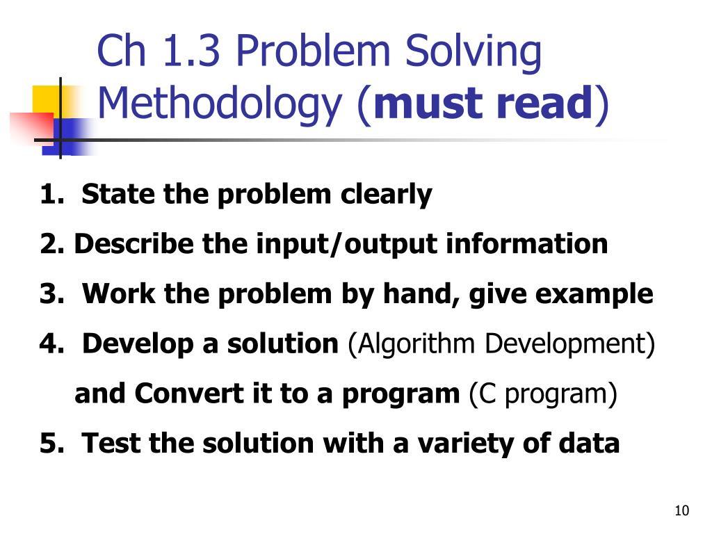 Ch 1.3 Problem Solving Methodology (