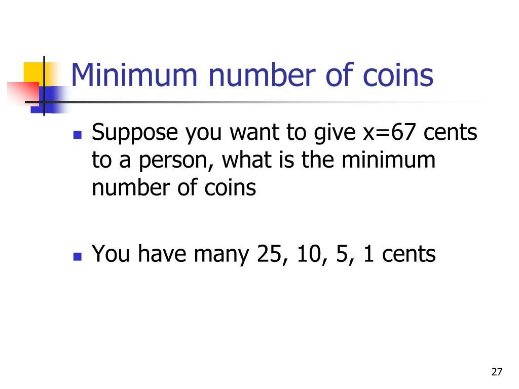Minimum number of coins
