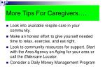 more tips for caregivers