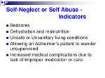 self neglect or self abuse indicators