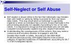 self neglect or self abuse
