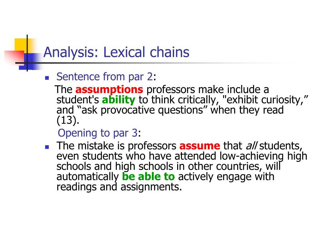 Analysis: Lexical chains