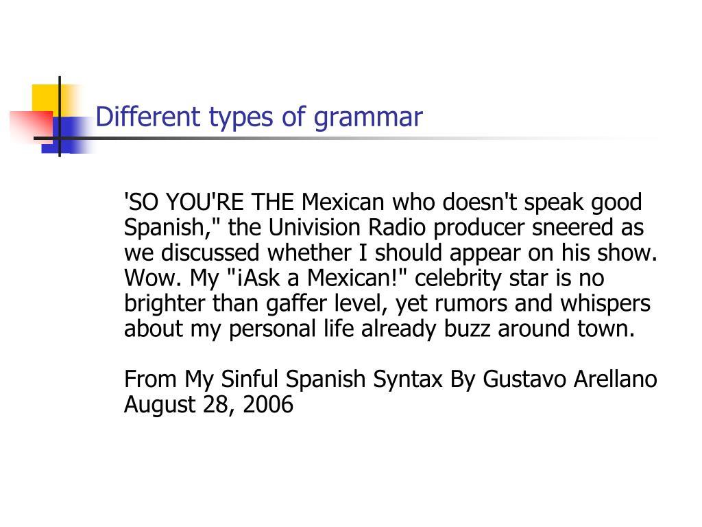 Different types of grammar